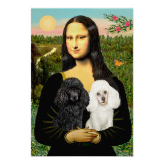 Poodle Pair (Black + White) - Mona Lisa Poster