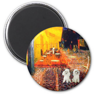 Poodle Pair (W) - Terrace Cafe 2 Inch Round Magnet