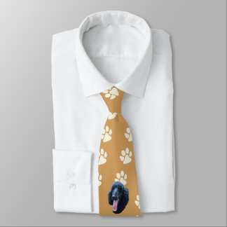 Poodle, paw prints on gold double-sided printing tie