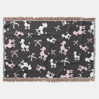 Poodle pink and black monogram throw blanket