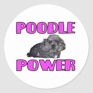 Poodle Power Sticker. Classic Round Sticker