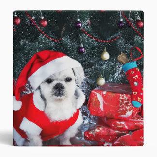 Poodle santa - christmas dog - santa claus dog 3 ring binder