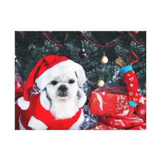 Poodle santa - christmas dog - santa claus dog canvas print