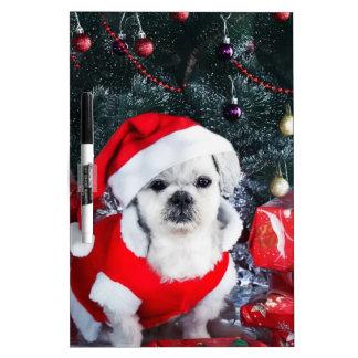 Poodle santa - christmas dog - santa claus dog dry erase board