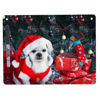 Poodle santa - christmas dog - santa claus dog dry erase board with keychain holder