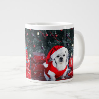 Poodle santa - christmas dog - santa claus dog large coffee mug
