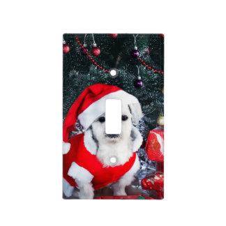 Poodle santa - christmas dog - santa claus dog light switch cover