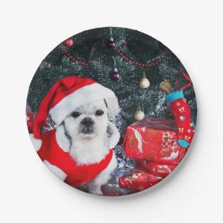 Poodle santa - christmas dog - santa claus dog paper plate