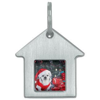 Poodle santa - christmas dog - santa claus dog pet ID tag