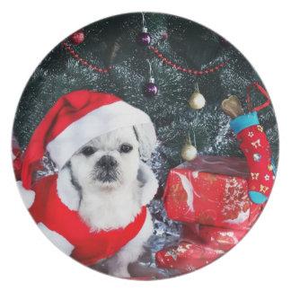 Poodle santa - christmas dog - santa claus dog plate