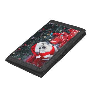 Poodle santa - christmas dog - santa claus dog tri-fold wallets