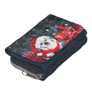 Poodle santa - christmas dog - santa claus dog wallet