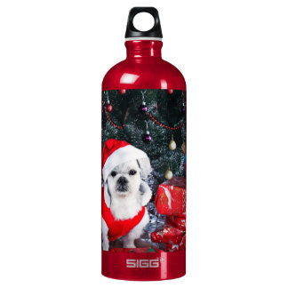 Poodle santa - christmas dog - santa claus dog water bottle