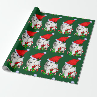 Poodle Santa Hat Christmas Wrapping Paper