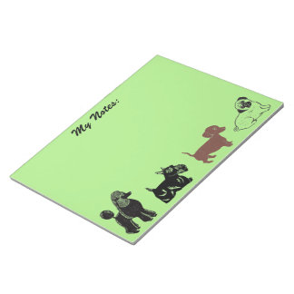 Poodle, Scottie, Dachshund, and Pug Notepad