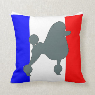 poodle silhouette blue on flag throw pillow