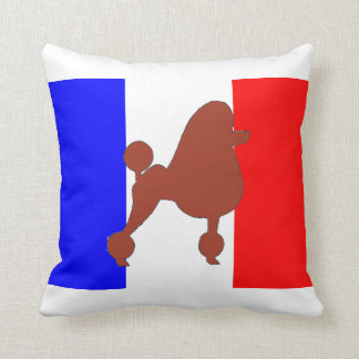 poodle silhouette red on flag throw pillow