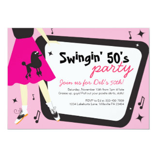 Poodle Skirt 1950's themed party invitation