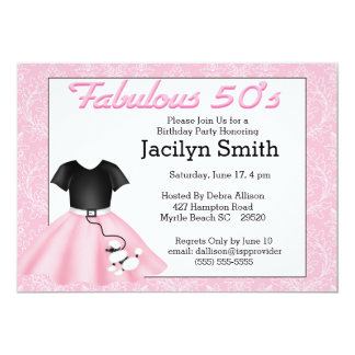 Poodle Skirt Birthday Party Invitations