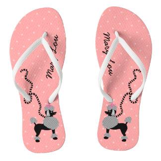 Poodle Skirt Dog Retro Pink 50s Modern Custom Name Flip Flops