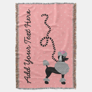 Poodle Skirt Dog Retro Pink 50s Modern Dots Custom Throw Blanket