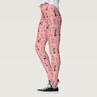Poodle Skirt Retro 50s Mod Pink Black Cool Pattern Leggings