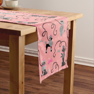 Poodle Skirt Retro Pink and Black 50s Pattern Short Table Runner