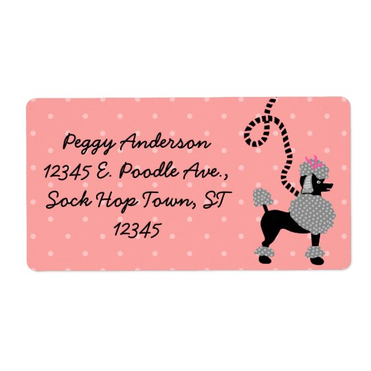 Poodle Skirt Retro Pink and Black 50s Personalized Shipping Label