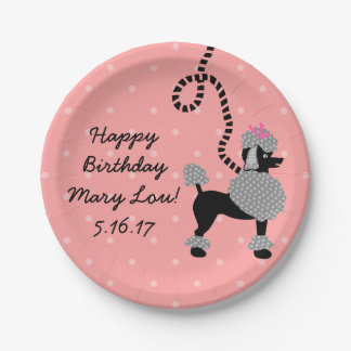 Poodle Skirt Retro Pink Black 50s Birthday Party Paper Plate