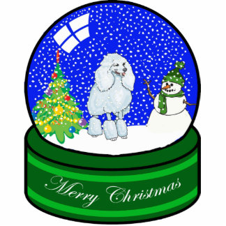 poodle snow globe photo sculpture ornament
