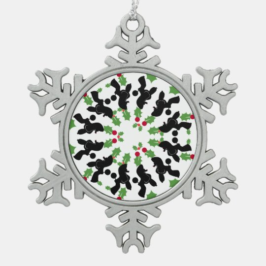 Poodle star pewter snowflake ornament