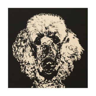 "Poodle Stencil Wood 12""x12"" Wall Art"