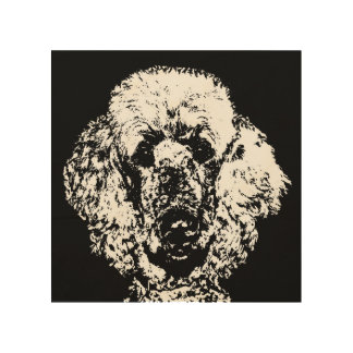 "Poodle Stencil Wood 8""x8"" Wall Art"