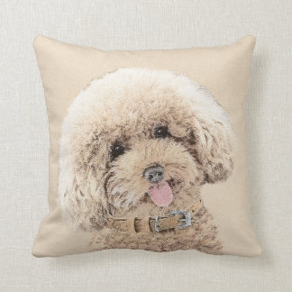 Poodle (Toy, Miniature) Painting Original Dog Art Throw Pillow