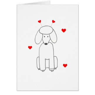 Poodle Valentine Ears Greeting Card