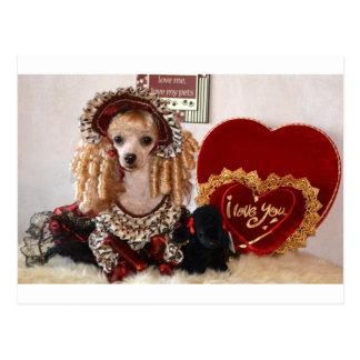 Poodle Valentine Love Dog Victorian Picture Postcard