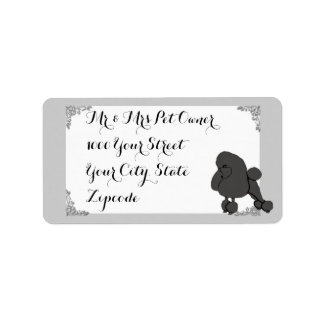 Poodle w/white and silver design label