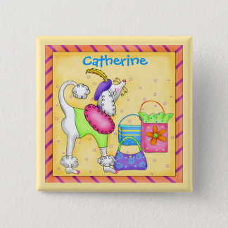 Poodle Whimsy Dog Art Yellow Name Badge 2 Inch Square Button
