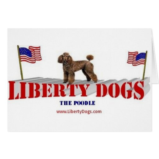 Poodle with Flags Card