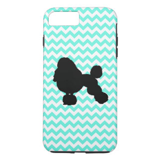 Poodle With Light Blue Chevron iPhone 8 Plus/7 Plus Case