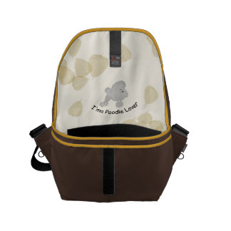 Poodle with Tan Leaves Messenger Bags