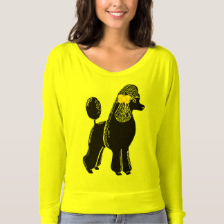 Poodle Yellow Bow Women's Flowy Off Shoulder Shirt