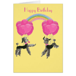 Poodles and Balloons Rainbow Birthday Card