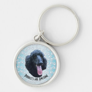 Poodle's are Awesome Silver-Colored Round Keychain