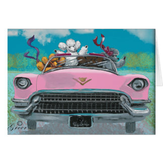 Poodles in Pink Cadillac Retro Print Card