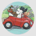 Poodles in Vintage Red Convertible Round Stickers