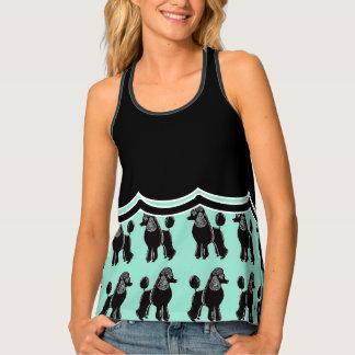 Poodles Mint & Black Panel Women's Print Tank Top