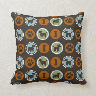 Poodles Pattern with Paw Prints and Dog Biscuits Throw Pillow