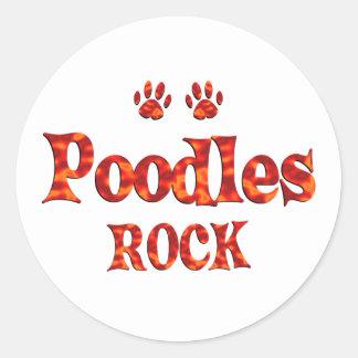 Poodles Rock Classic Round Sticker