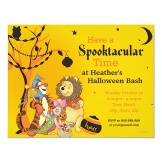 Pooh and Pals Halloween Party Card